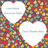 Love Heart Photo Frame Valentines Day Design trendy colors with transparent place shape in vector — Stock Vector