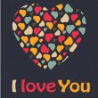 Love Heart Valentines day Greeting card trendy colors Romantic relationship concept in vector — Grafika wektorowa