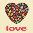 Love Heart Valentines day Greeting card Retro grunge style vintage colors Romantic relationship concept in vector — Imagen vectorial