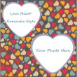 Love Heart Photo Frame Valentines Day Design trendy colors with transparent place shape in vector — ベクター素材ストック