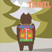 Travel concept vector illustration with Hiker Bear traveler with backpack going to mountains back view trendy art design — Stock Vector