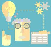 Freelancer karakter ontwerper website creëren ontwikkelingsproces, webapplicatie elementen en objecten in stijlvolle kleuren platte ontwerp vector illustratie pictogrammen instellen — Stockvector