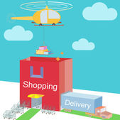 Shop storehouse as Shopping Bag Commerce and various logistic cargo shipping with carts near enter Isometric Flat design with clouds on background vector Illustration — Stock Vector