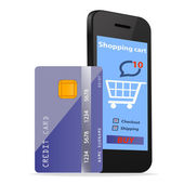 Online Shopping concept e-commerce technology with modern Smartphone and credit card isolated on white background — Stock Photo