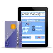 Online Shopping concept e-commerce technology with modern tablet pc and credit card isolated on white background — Stock Photo