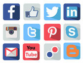 Social Media icons set Illustration most popular of the world — Cтоковый вектор