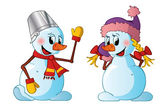 Boy and girl snowmen — Stock Vector