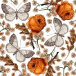 Butterflies. Flowers. Vector. Beautiful background with a flower ornament. — Grafika wektorowa