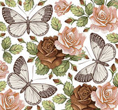 Flowers. Butterfly. Beautiful background with a flower ornament. Roses. Bouquets from flowers. — Stock Vector