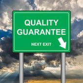 Quality guarantee, next exit — Fotografia Stock