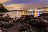 Panoramic of Castro in the night from Ostende beach — Stock Photo