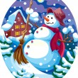 Evening snowman — Stock Vector