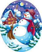 Evening snowman — Stock Vector