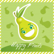 Happy Fruits Pear — Stok Vektör