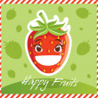 Happy Fruits Strawberry — Stok Vektör