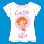 Cute Girl Skate T-shirt — Stock Vector #34259107