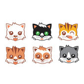 Kitten Heads set — Stock Vector