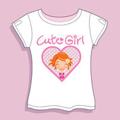 Cute Girl T-shirt — Stock Vector