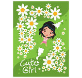 Cute Girl in The Garden — Stock Vector