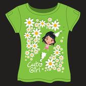 Linda chica en el jardín — Vector de stock
