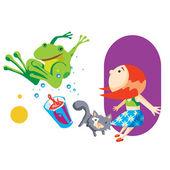 Girl with frog — Cтоковый вектор