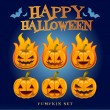 Vector de stock : Happy Halloween Pumpkin Set