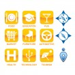 Stock Vector: Yellow and blue icon set