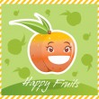 Happy Fruits Peach — 图库矢量图片