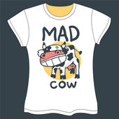 Mad Cow T-shirt — Stock Vector