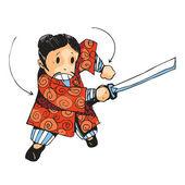 Samurai and sword — Stock Vector