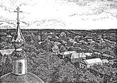 Vista desde un campanario — Vector de stock