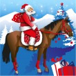 Santa on Horseback — Stock Vector