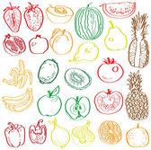 Frutas y verduras en el contexto de — Vector de stock