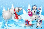 Family of snowmen — Stock Vector