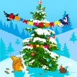 Christmas tree and animals. — Stock Vector
