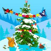 Kerstboom en dieren. — Stockvector