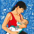 Mother feeds baby. — Imagen vectorial