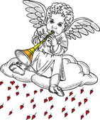Cupid playing a pipe — Stock Vector