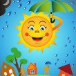Sun and rain — Stock Vector