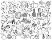 Vegetables, fruits, berries — Stock Vector