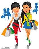 Girls and Shopping — Stock Vector