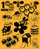 Bees and honey — Stock Vector