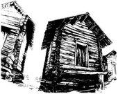 Wooden houses — Stock Vector