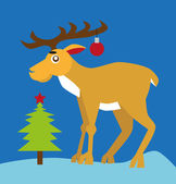 Reindeer and Christmas tree — Stock Vector