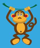 Monkey on a vine — Vector de stock