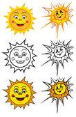 Sol sonriente — Vector de stock