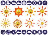 Sun vector icons — Vector de stock