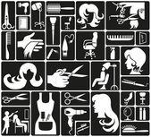 парикмахерские значки — Cтоковый вектор