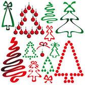 Christmas tree from ribbons and circles — Stock Vector