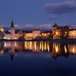 Stock Photo: Prague center at sundown, river Vltava